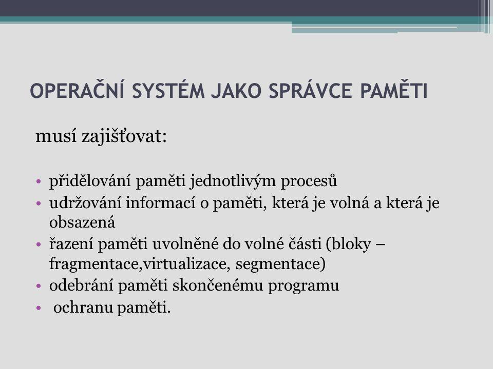 Operační systém jako správce paměti