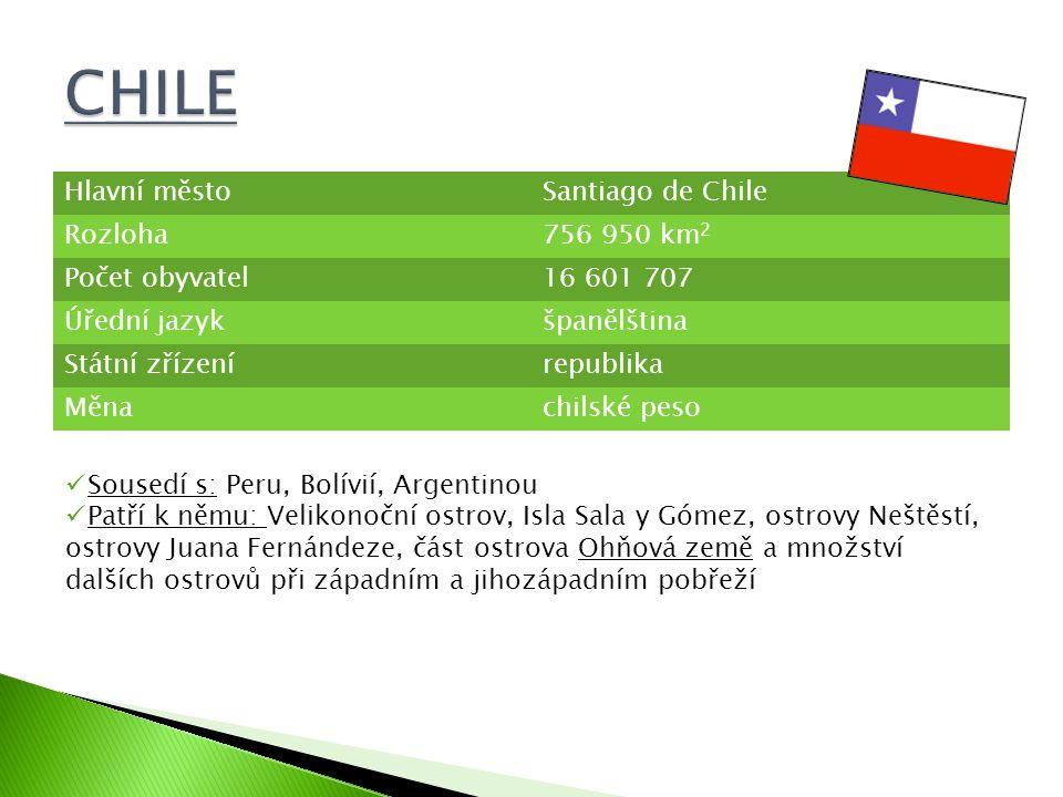 CHILE Hlavní město Santiago de Chile Rozloha 756 950 km2