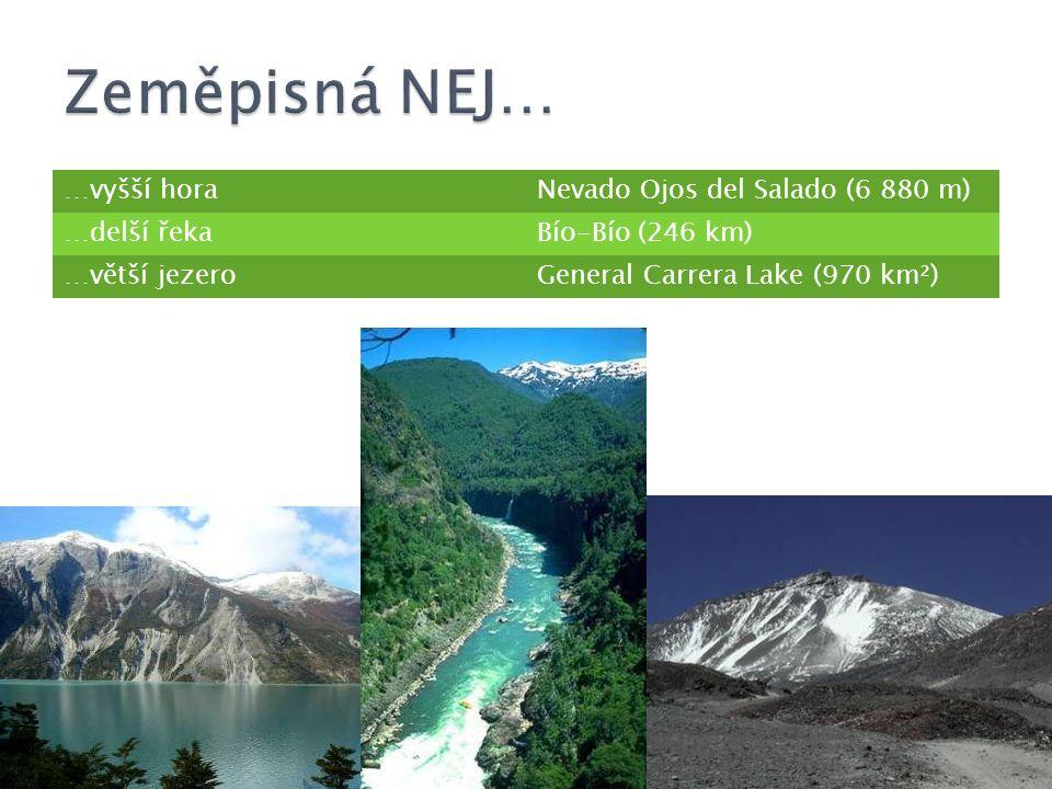 Zeměpisná NEJ… …vyšší hora Nevado Ojos del Salado (6 880 m)