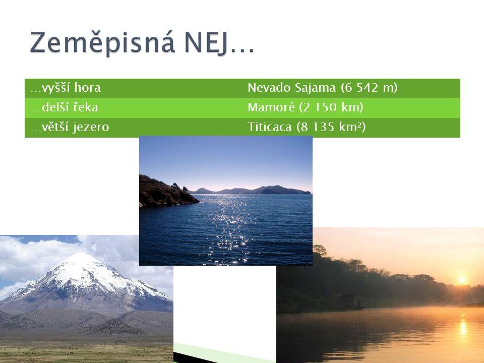 Zeměpisná NEJ… …vyšší hora Nevado Sajama (6 542 m) …delší řeka