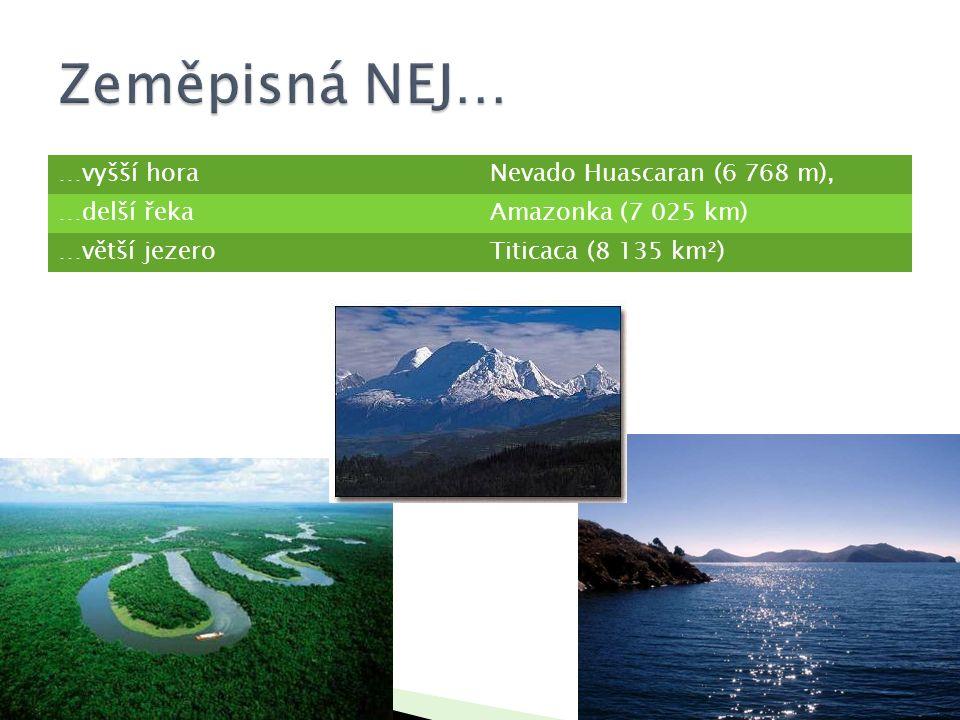 Zeměpisná NEJ… …vyšší hora Nevado Huascaran (6 768 m), …delší řeka