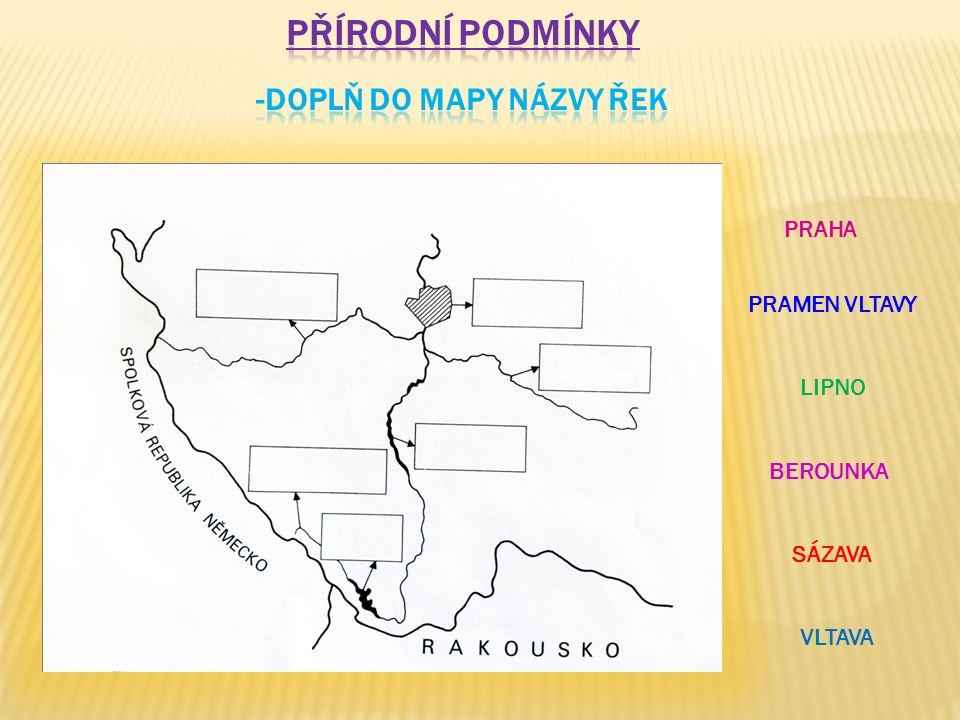-doplň do mapy názvy řek