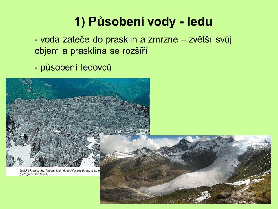 1) Působení vody - ledu voda zateče do prasklin a zmrzne – zvětší svůj objem a prasklina se rozšíří.