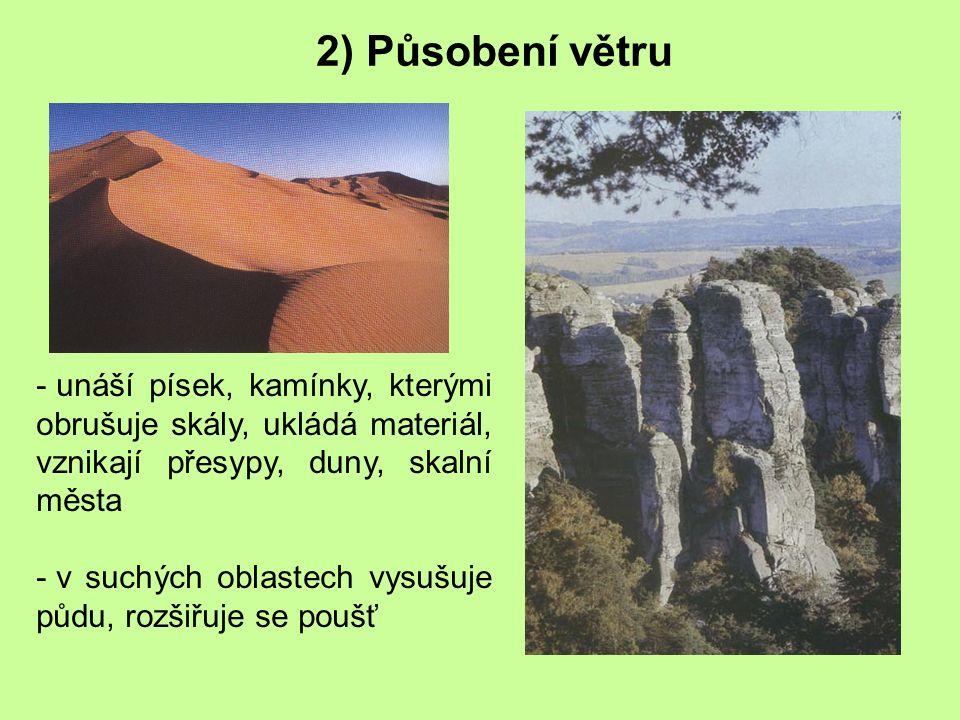 2) Působení větru unáší písek, kamínky, kterými obrušuje skály, ukládá materiál, vznikají přesypy, duny, skalní města.