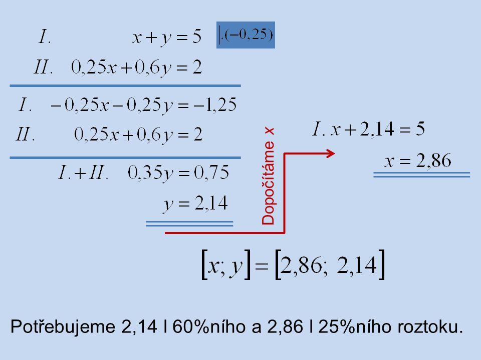 Potřebujeme 2,14 l 60%ního a 2,86 l 25%ního roztoku.