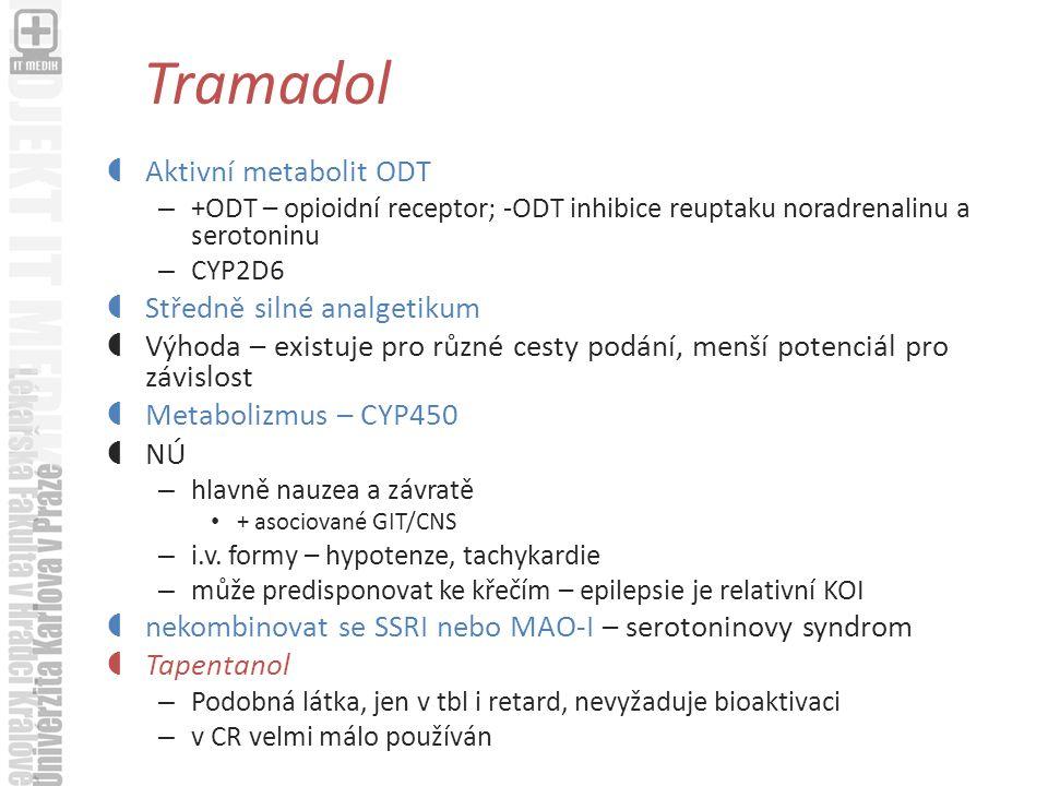 Tramadol Aktivní metabolit ODT Středně silné analgetikum