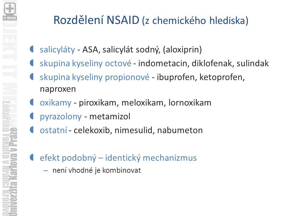 Rozdělení NSAID (z chemického hlediska)