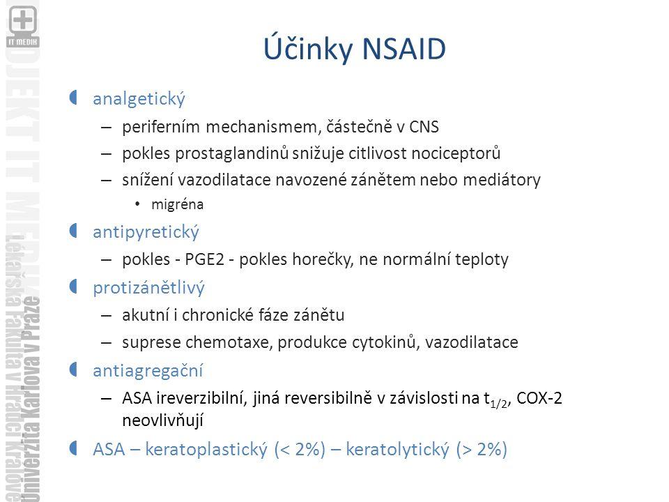 Účinky NSAID analgetický antipyretický protizánětlivý antiagregační