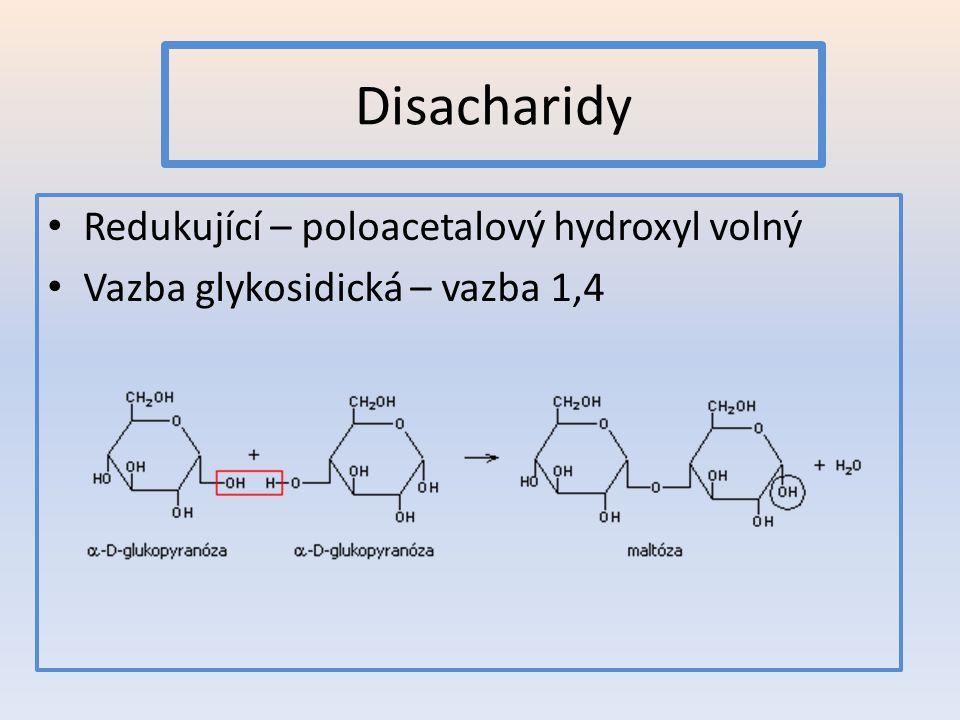 Disacharidy Redukující – poloacetalový hydroxyl volný