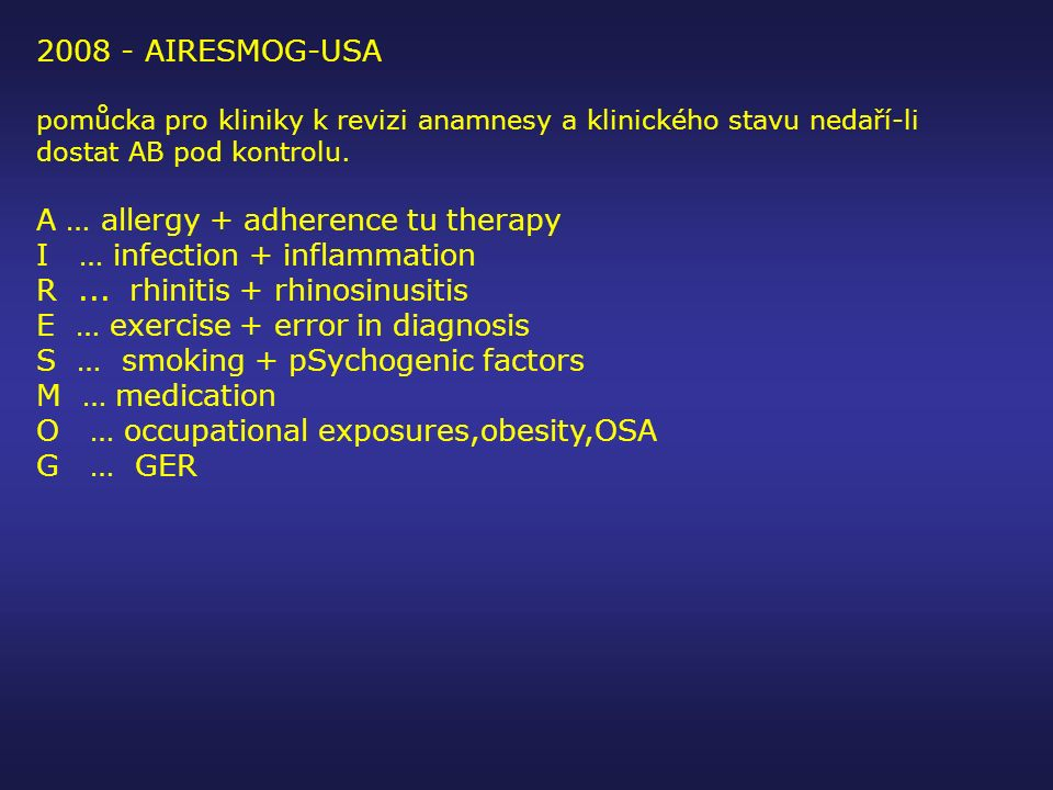 A … allergy + adherence tu therapy I … infection + inflammation