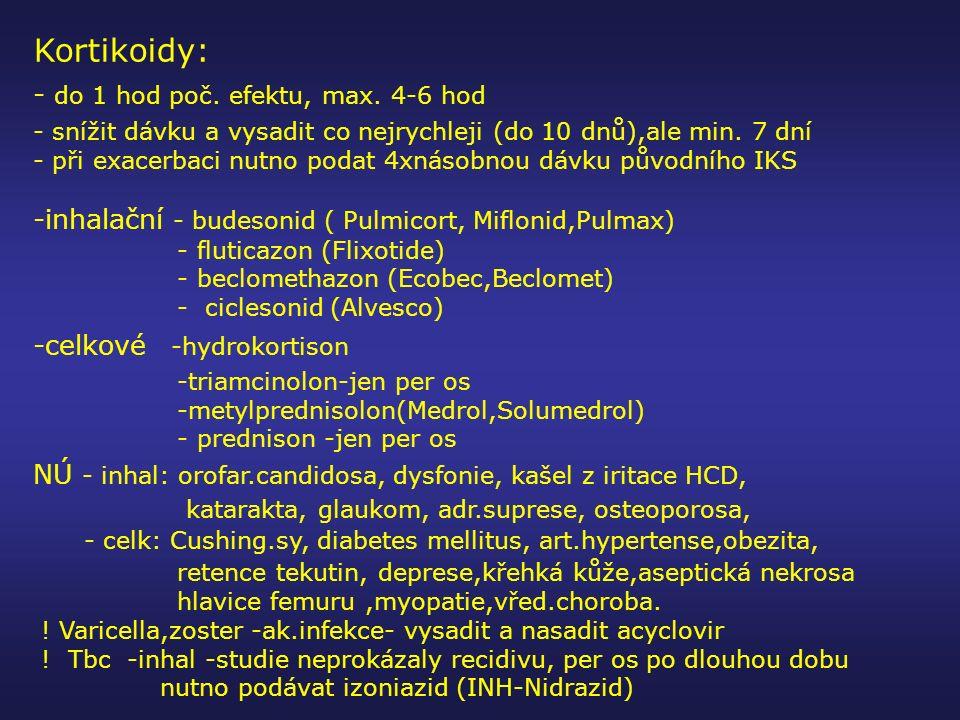 Kortikoidy: - do 1 hod poč. efektu, max. 4-6 hod