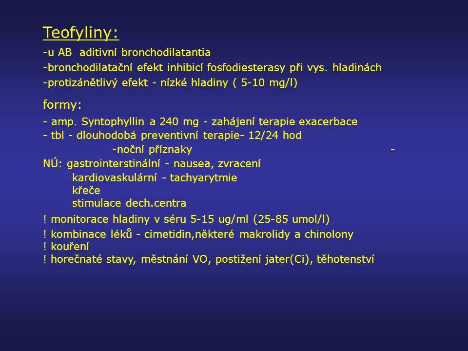 Teofyliny: formy: -u AB aditivní bronchodilatantia