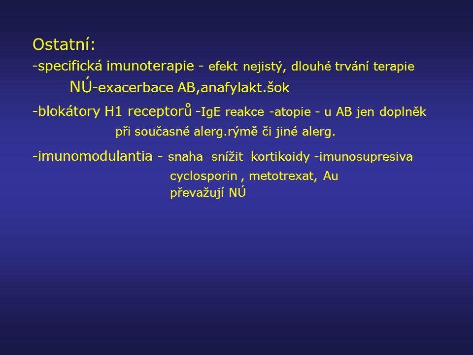 Ostatní: -specifická imunoterapie - efekt nejistý, dlouhé trvání terapie. NÚ-exacerbace AB,anafylakt.šok.