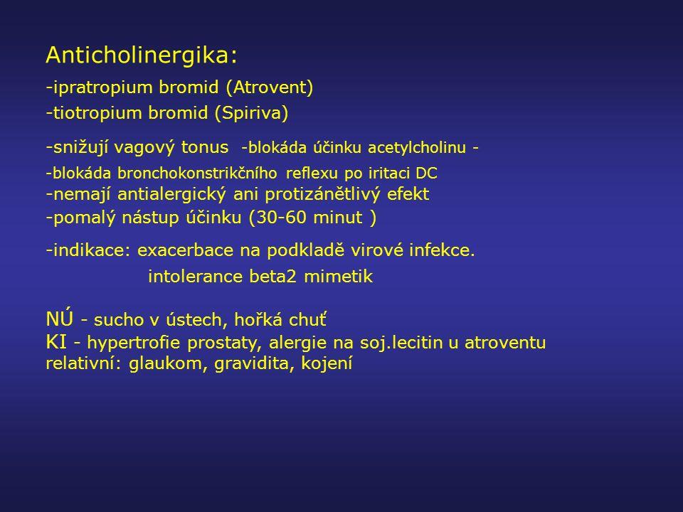 Anticholinergika: NÚ - sucho v ústech, hořká chuť