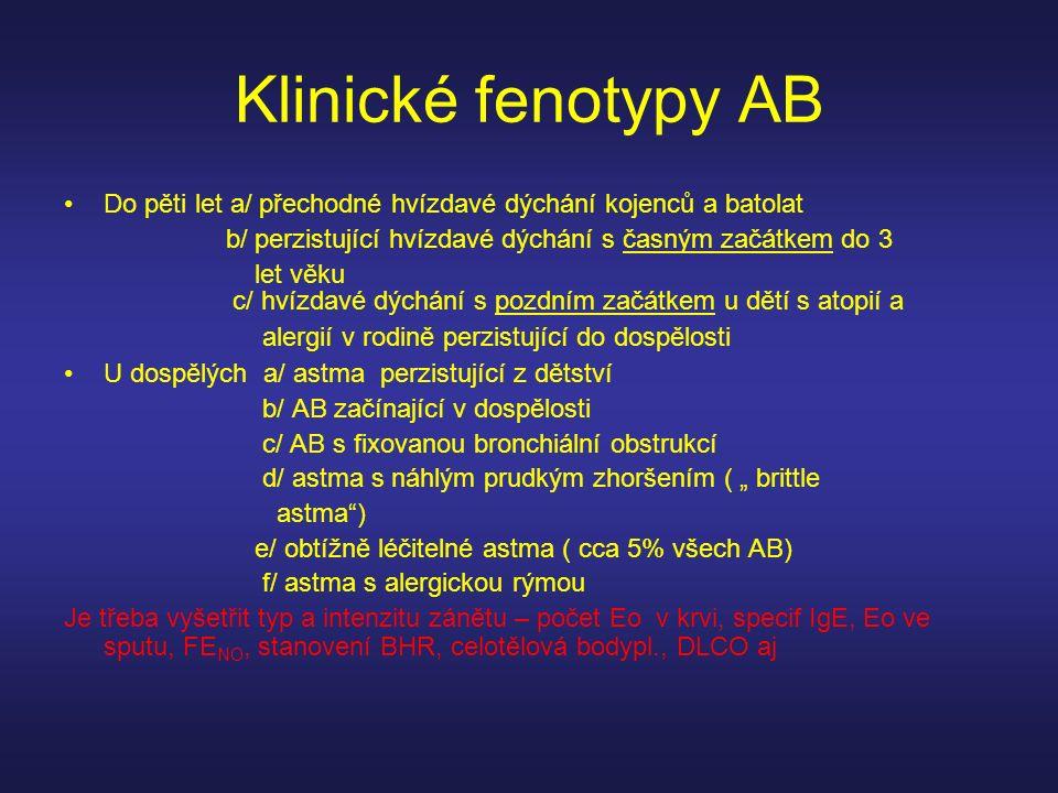 Klinické fenotypy AB Do pěti let a/ přechodné hvízdavé dýchání kojenců a batolat. b/ perzistující hvízdavé dýchání s časným začátkem do 3.