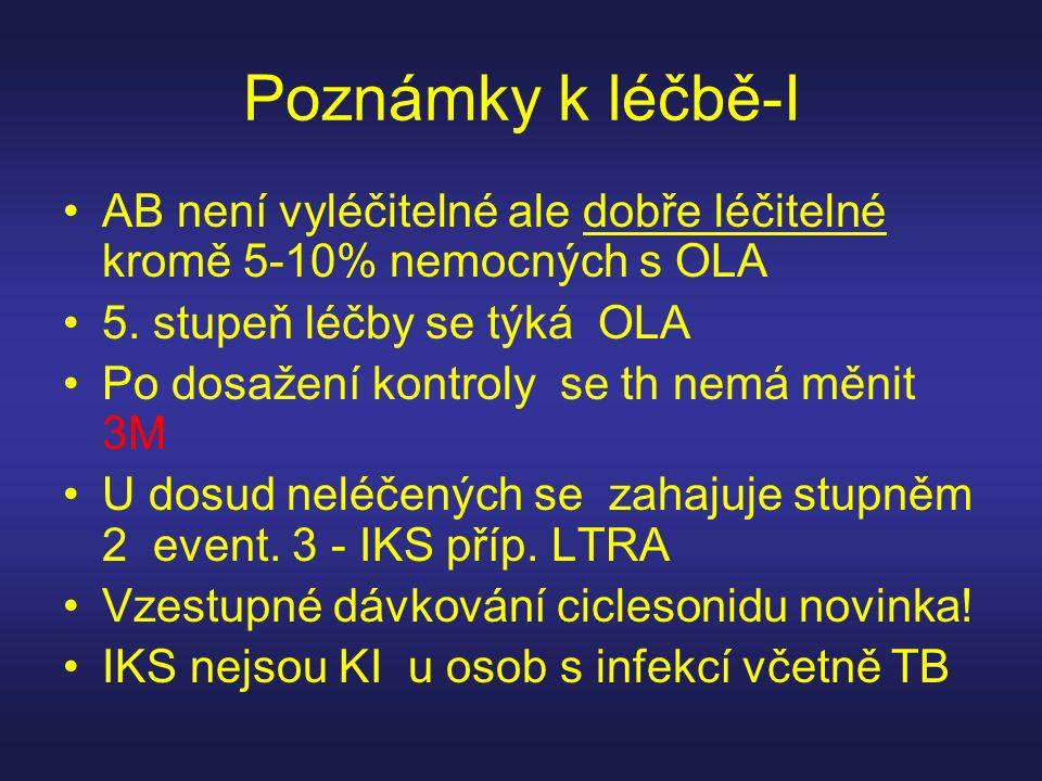 Poznámky k léčbě-I AB není vyléčitelné ale dobře léčitelné kromě 5-10% nemocných s OLA. 5. stupeň léčby se týká OLA.