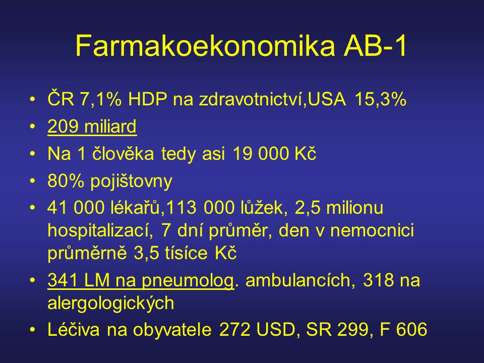 Farmakoekonomika AB-1 ČR 7,1% HDP na zdravotnictví,USA 15,3%