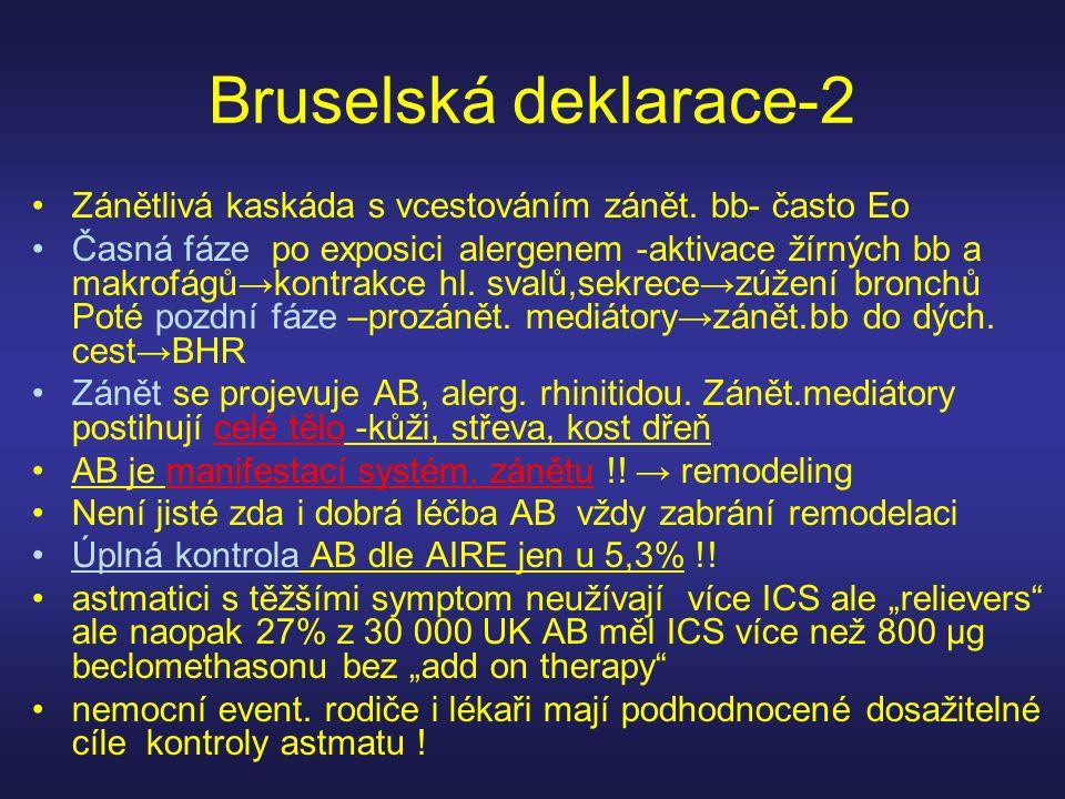 Bruselská deklarace-2 Zánětlivá kaskáda s vcestováním zánět. bb- často Eo.