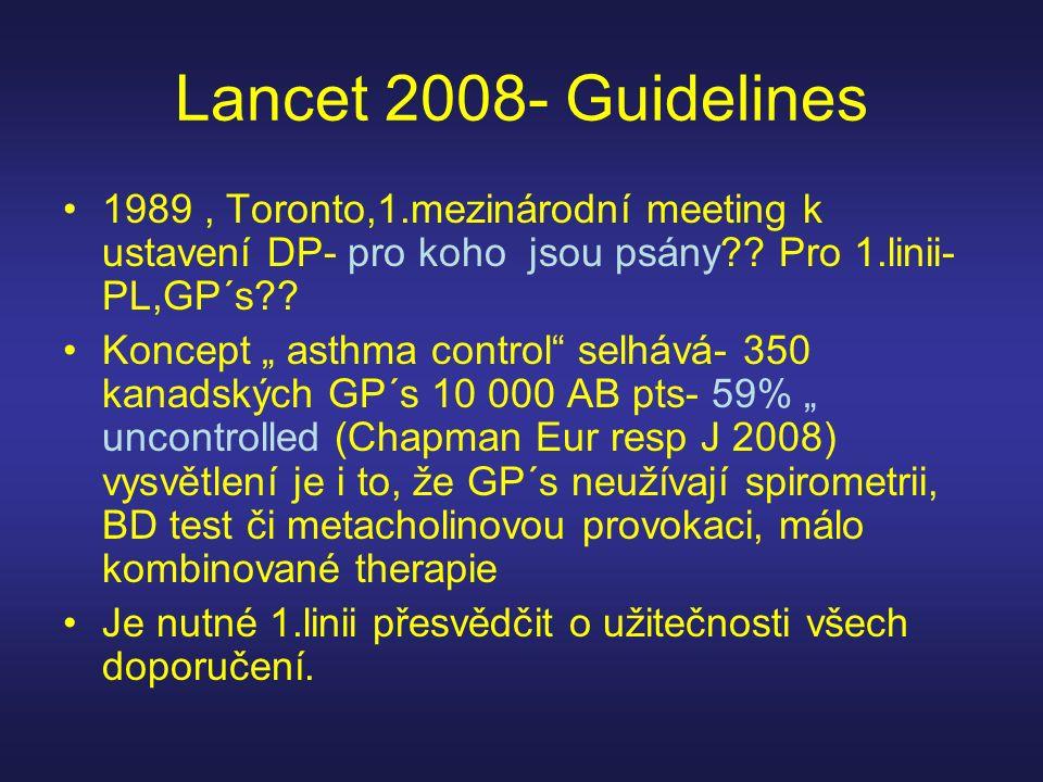Lancet 2008- Guidelines 1989 , Toronto,1.mezinárodní meeting k ustavení DP- pro koho jsou psány Pro 1.linii-PL,GP´s