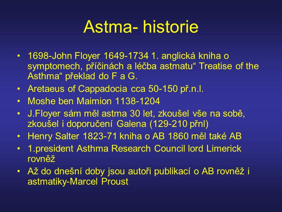 Astma- historie 1698-John Floyer 1649-1734 1. anglická kniha o symptomech, příčinách a léčba astmatu Treatise of the Asthma překlad do F a G.