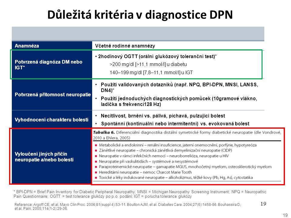 Důležitá kritéria v diagnostice DPN