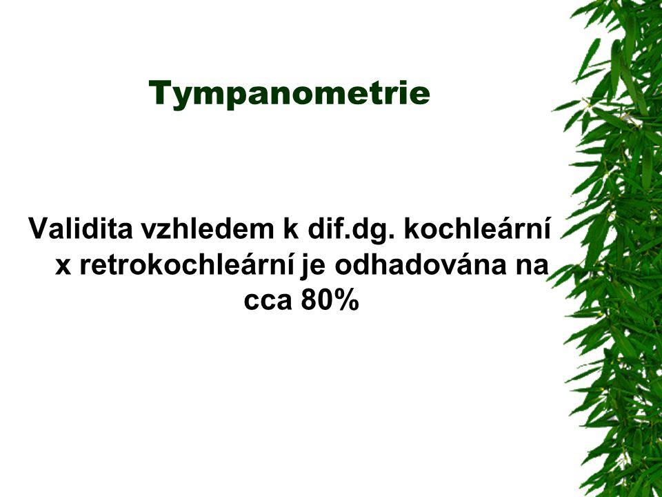 Tympanometrie Validita vzhledem k dif.dg. kochleární x retrokochleární je odhadována na cca 80%