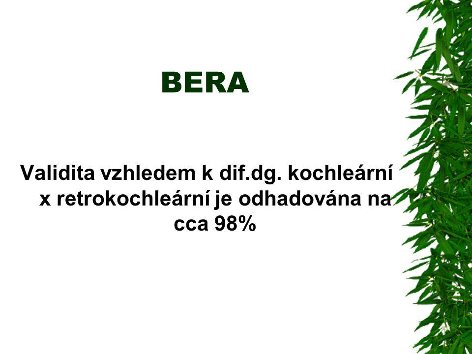 BERA Validita vzhledem k dif.dg. kochleární x retrokochleární je odhadována na cca 98%