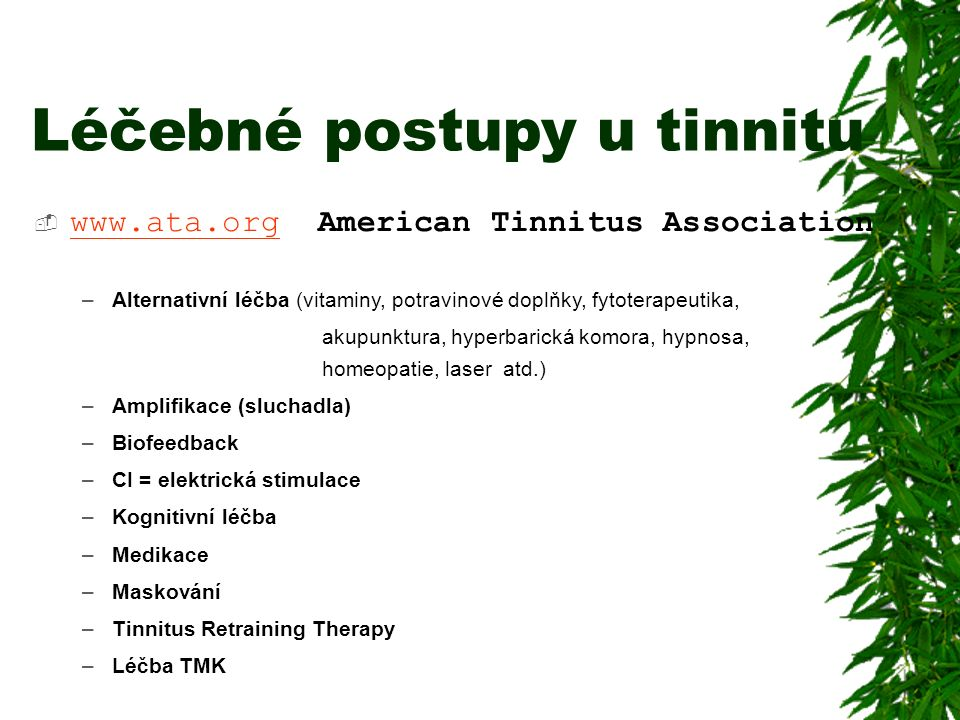 Léčebné postupy u tinnitu