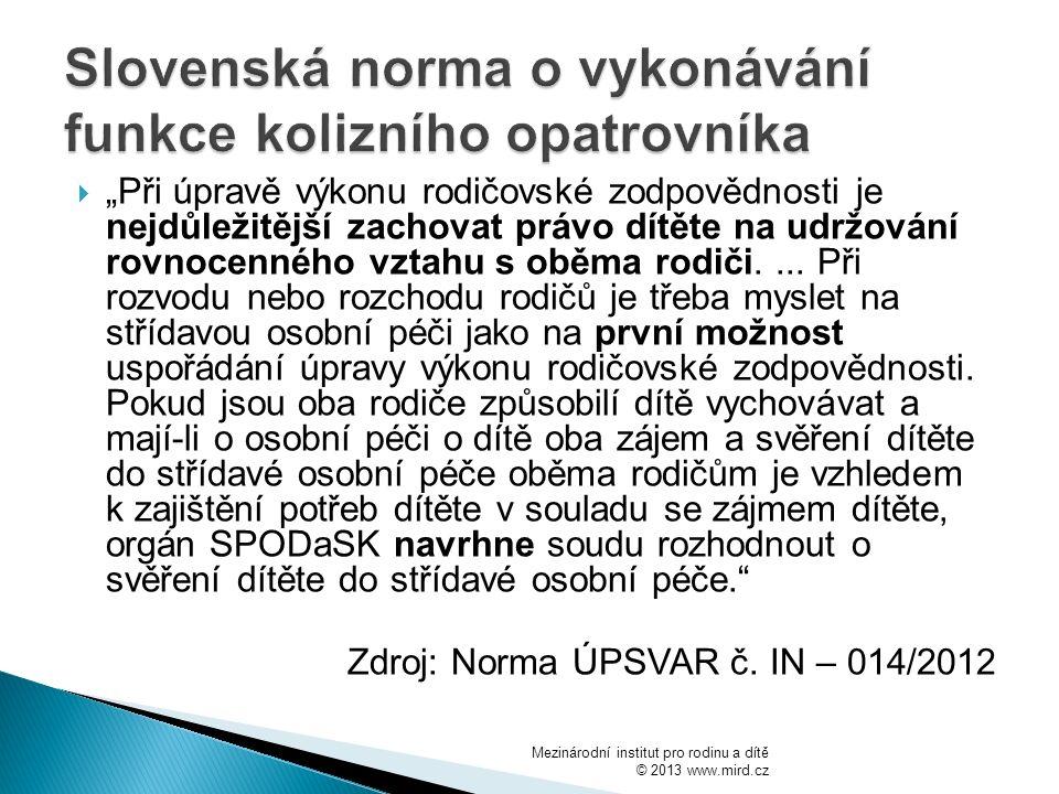 Slovenská norma o vykonávání funkce kolizního opatrovníka