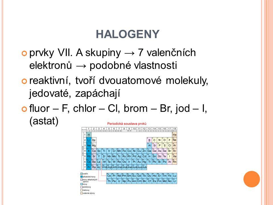 HALOGENY prvky VII. A skupiny → 7 valenčních elektronů → podobné vlastnosti. reaktivní, tvoří dvouatomové molekuly, jedovaté, zapáchají.