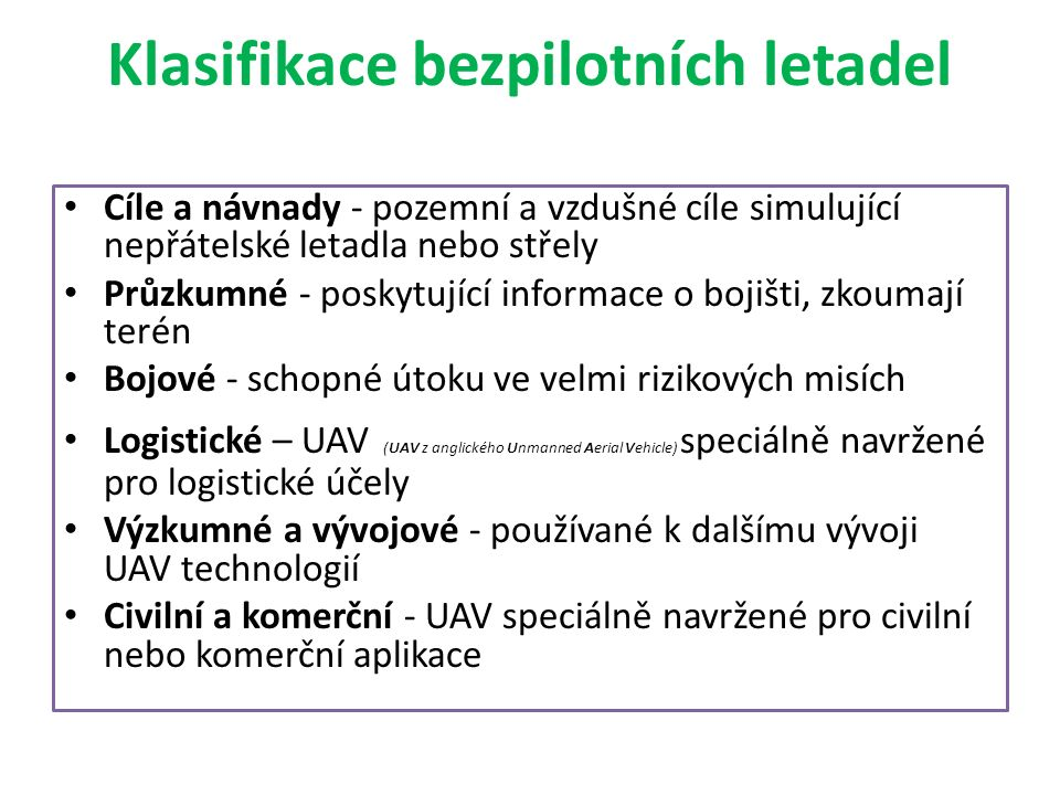 Klasifikace bezpilotních letadel