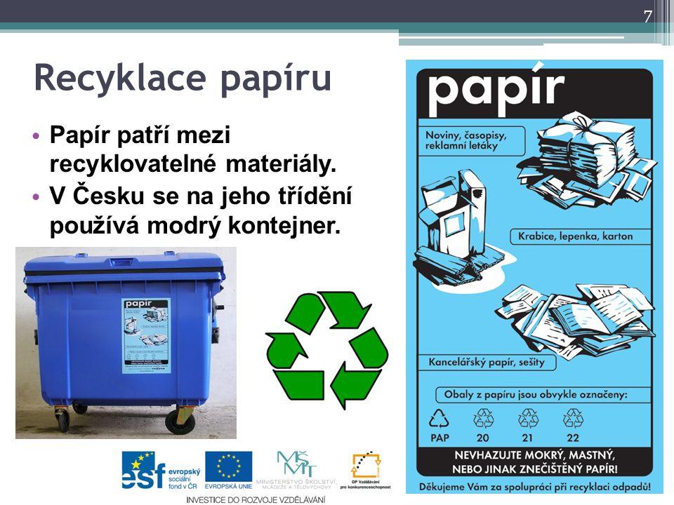 Recyklace papíru Papír patří mezi recyklovatelné materiály.