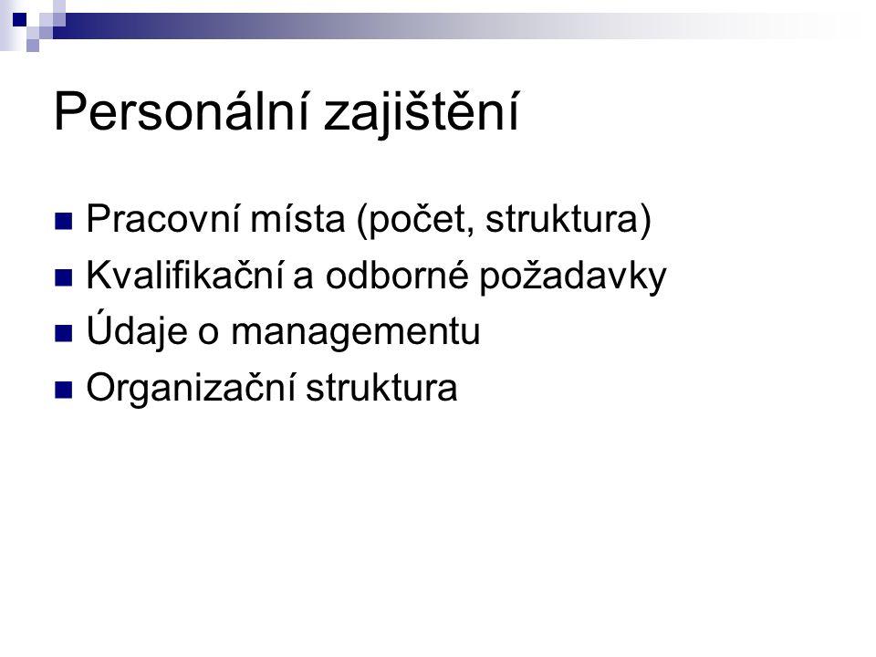 Personální zajištění Pracovní místa (počet, struktura)