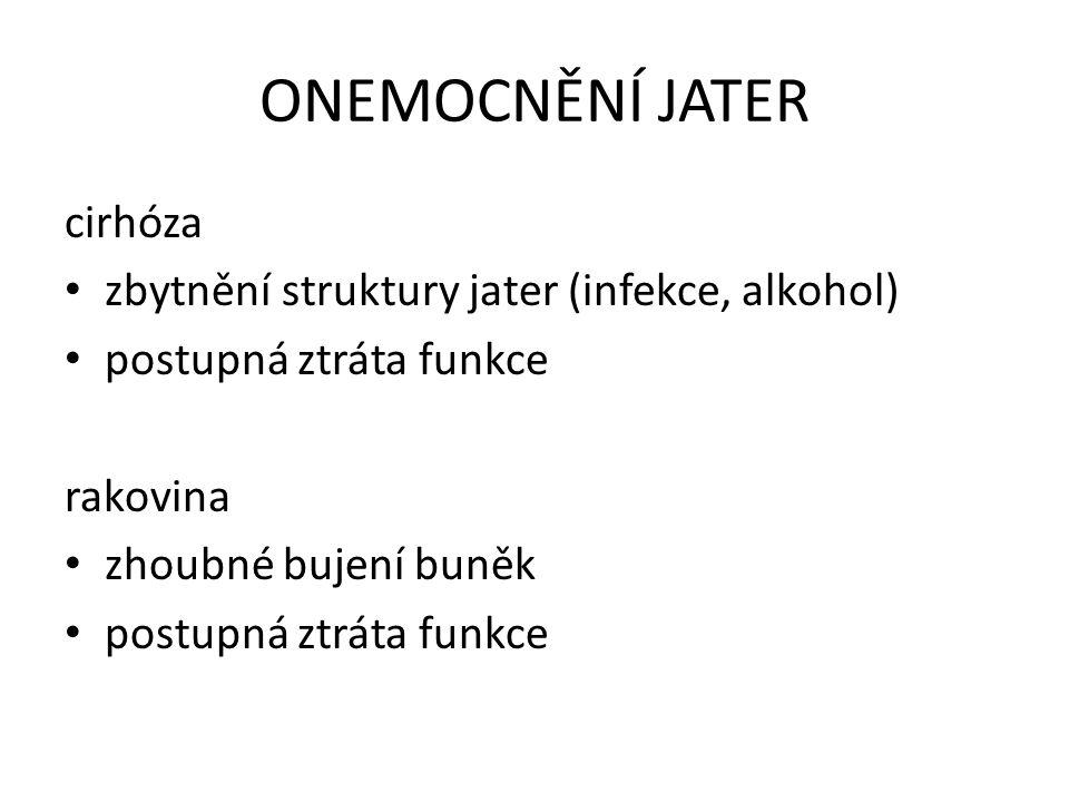 ONEMOCNĚNÍ JATER cirhóza zbytnění struktury jater (infekce, alkohol)