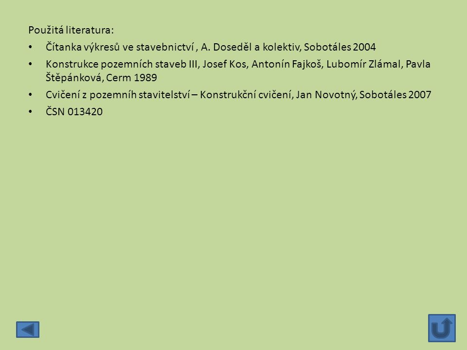 Použitá literatura: Čítanka výkresů ve stavebnictví , A. Doseděl a kolektiv, Sobotáles 2004.