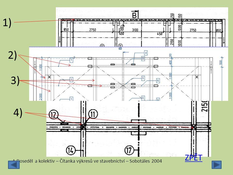 1) 2) 3) 4) ZPĚT A.Doseděl a kolektiv – Čítanka výkresů ve stavebnictví – Sobotáles 2004