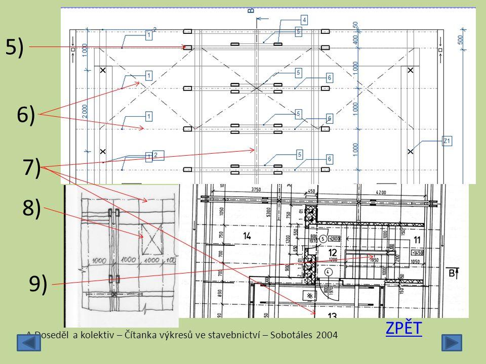 5) 6) 7) 8) 9) ZPĚT A.Doseděl a kolektiv – Čítanka výkresů ve stavebnictví – Sobotáles 2004