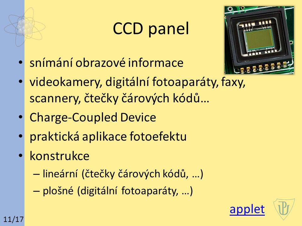 CCD panel snímání obrazové informace