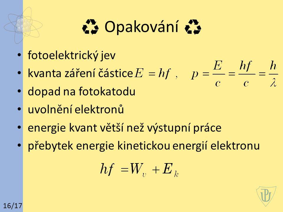 Opakování fotoelektrický jev kvanta záření částice dopad na fotokatodu