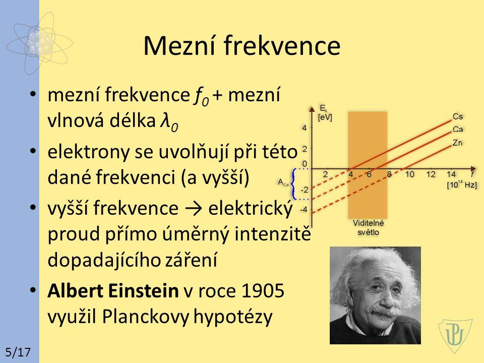 Mezní frekvence mezní frekvence f0 + mezní vlnová délka λ0