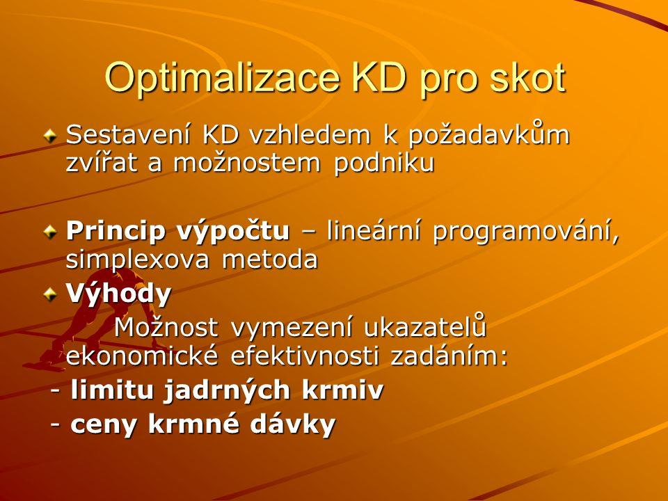 Optimalizace KD pro skot