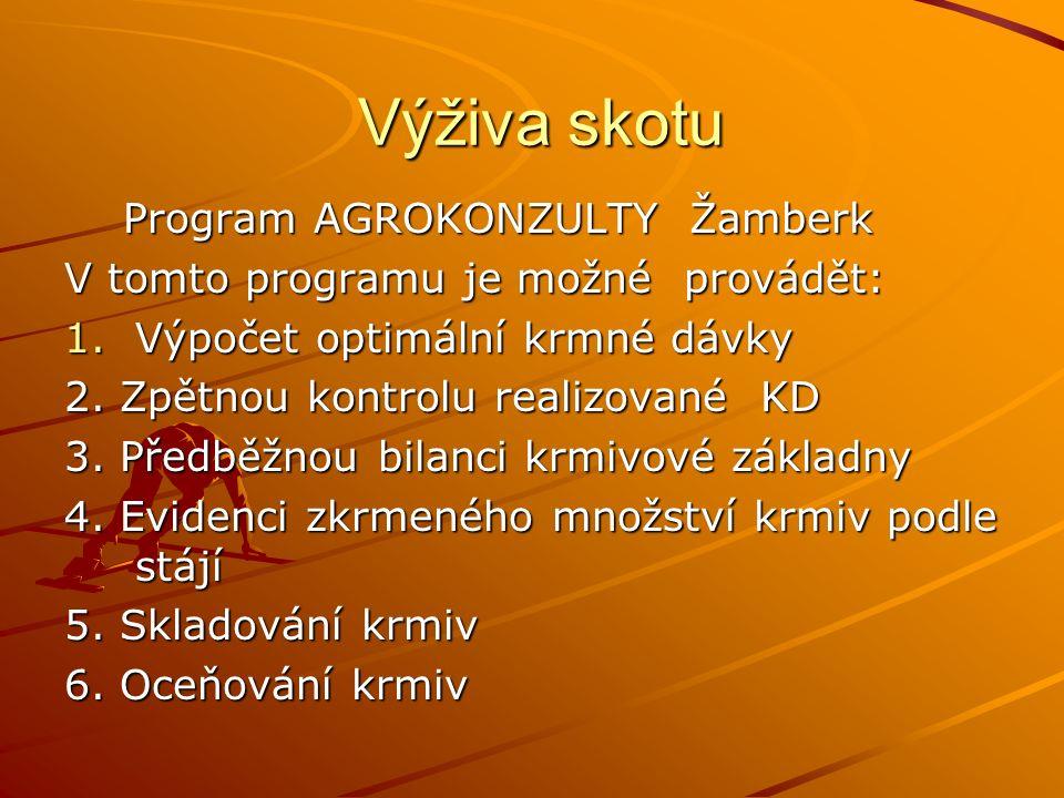 Výživa skotu Program AGROKONZULTY Žamberk