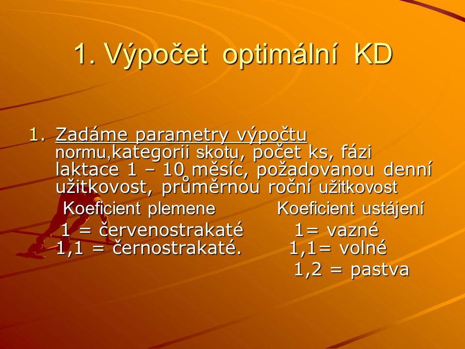 1. Výpočet optimální KD