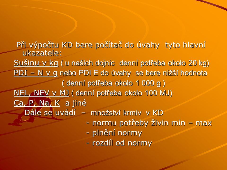 Při výpočtu KD bere počítač do úvahy tyto hlavní ukazatele: