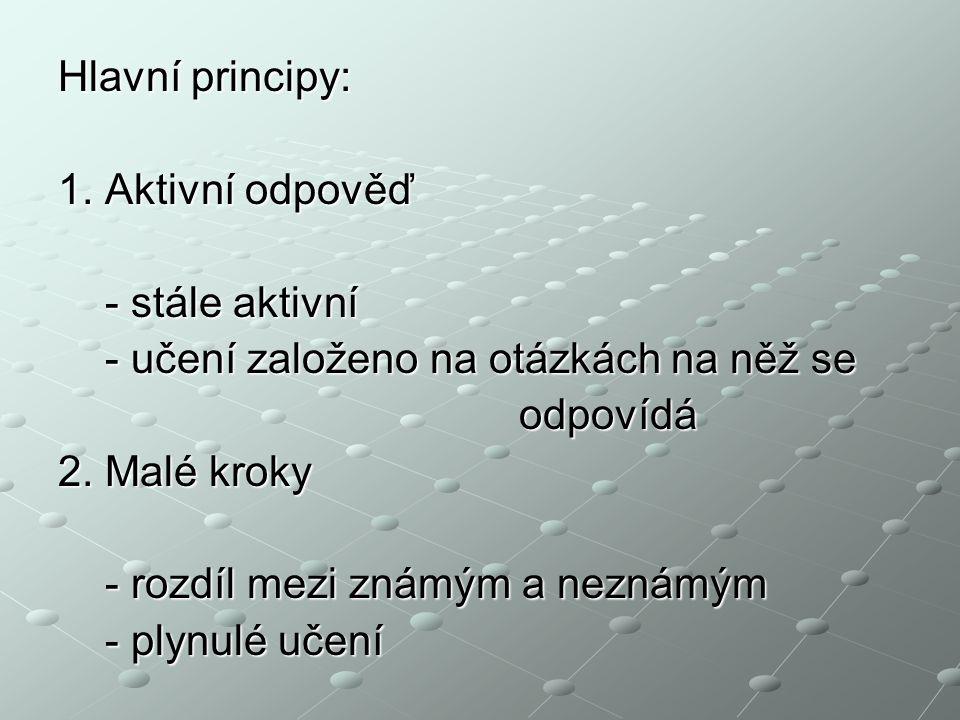 Hlavní principy: 1. Aktivní odpověď. - stále aktivní. - učení založeno na otázkách na něž se. odpovídá.
