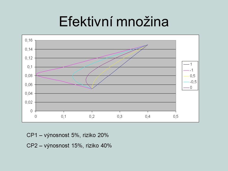 Efektivní množina CP1 – výnosnost 5%, riziko 20%