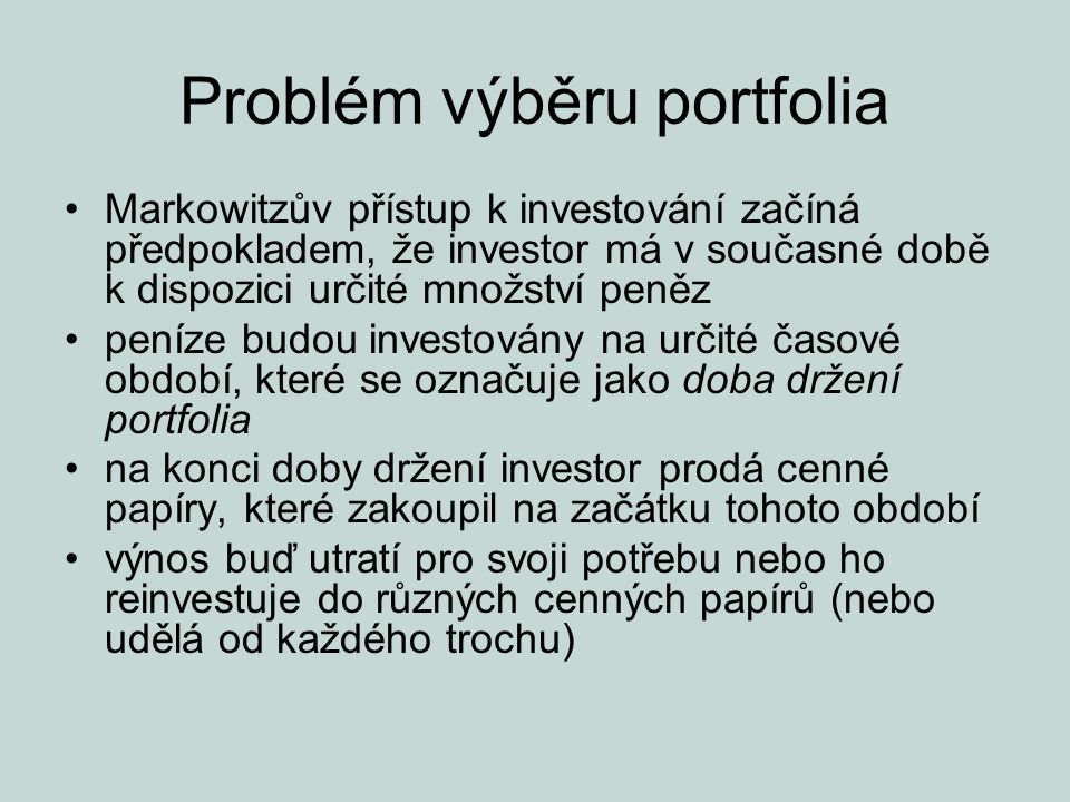 Problém výběru portfolia