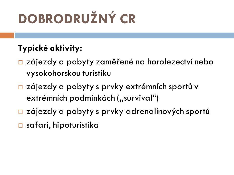 DOBRODRUŽNÝ CR Typické aktivity: