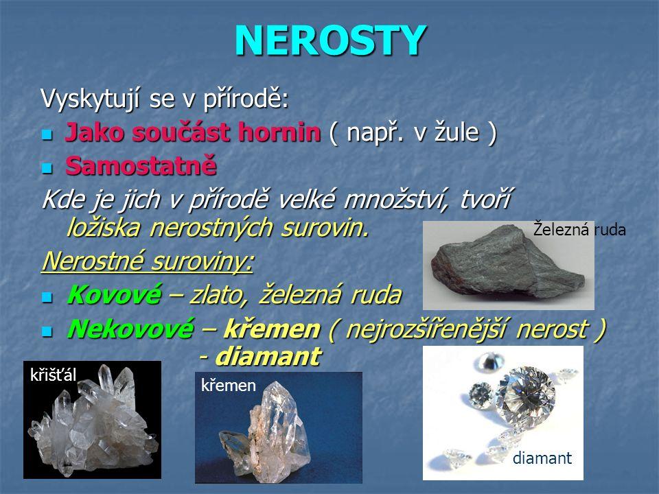 NEROSTY Vyskytují se v přírodě: Jako součást hornin ( např. v žule )