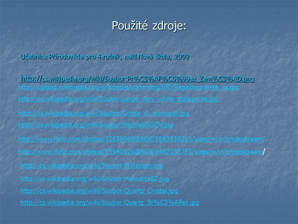 Použité zdroje: Učebnice Přírodověda pro 4.ročník, nakl.Nová škola, 2009. http://cs.wikipedia.org/wiki/Soubor:Pr%C5%AF%C5%99ez_Zem%C3%AD.png.